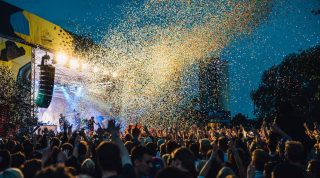 Confetti in the air at an outdoor concert