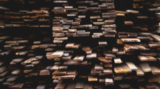 Wood planks stacked in random order
