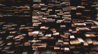 Wood planks stacked in random order