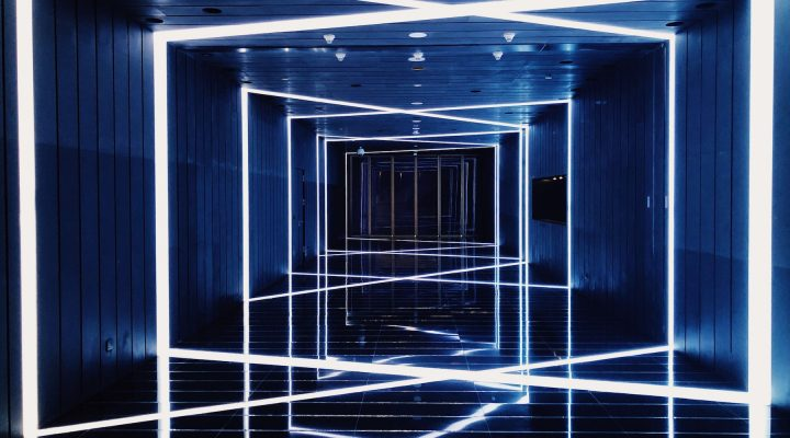 LED tape lighting up a blue hallways